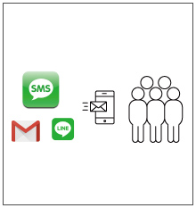 LINE,SMS,メールで一斉配信